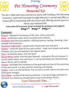 Pet Honoring Memorial Kit contents