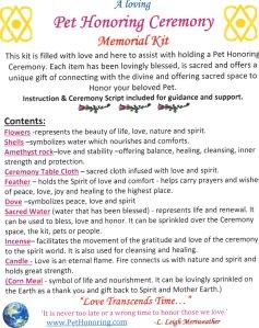 Pet Honoring Memorial Kit contents